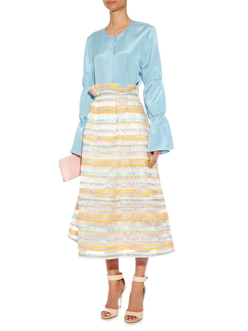 Roksanda Jenna striped-raffia A-line skirt $1,324