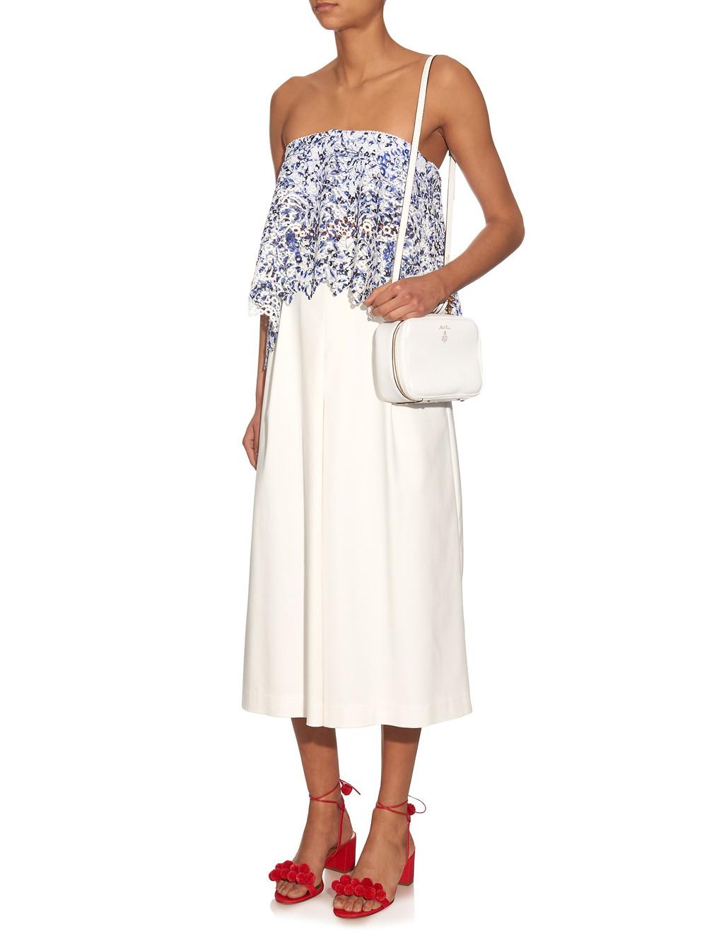 Saloni Abbie macramé-lace strapless top now $150