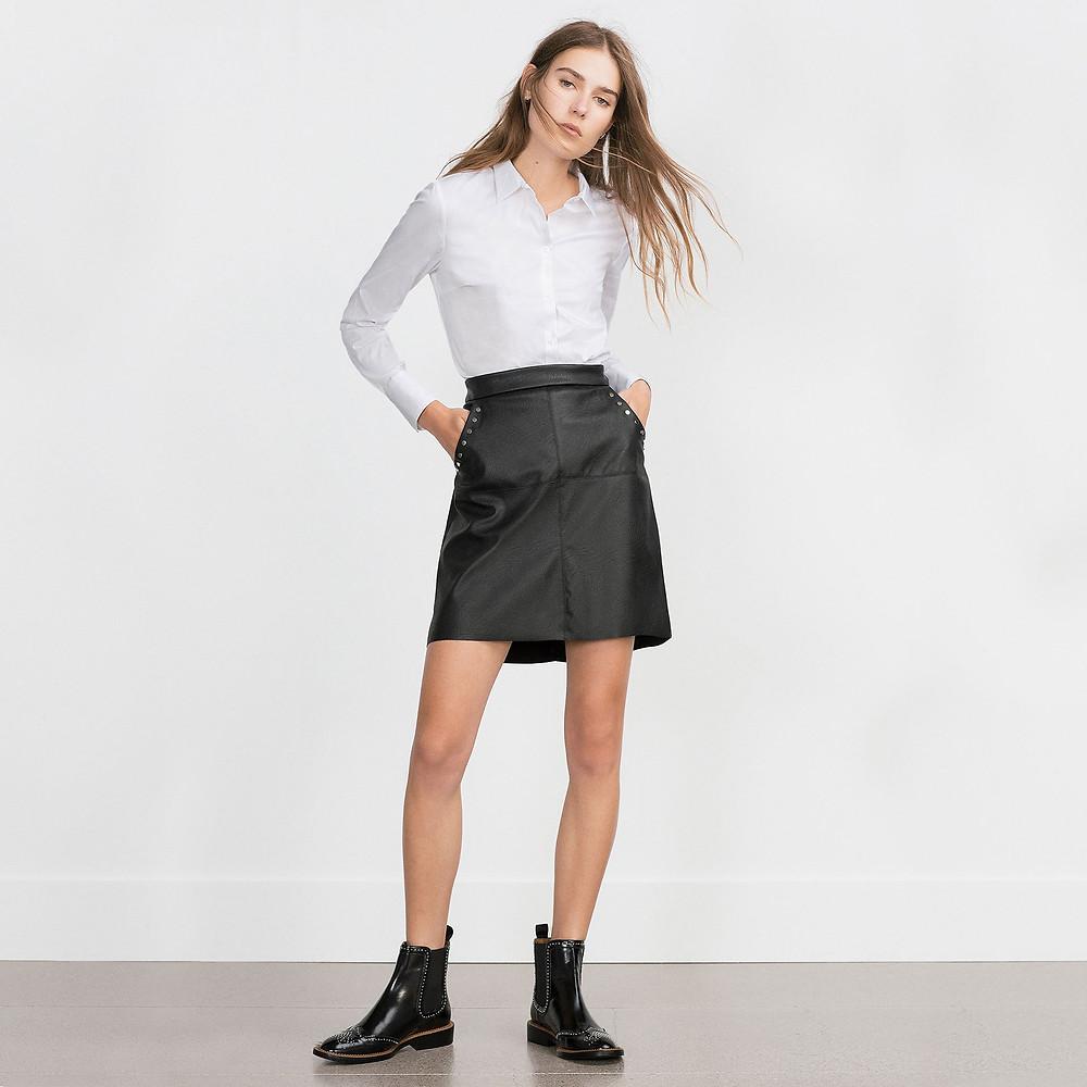 Zara micro-studded flat leather booties-$159