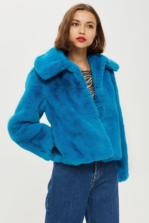 Topshop Faux Fur Coat $130