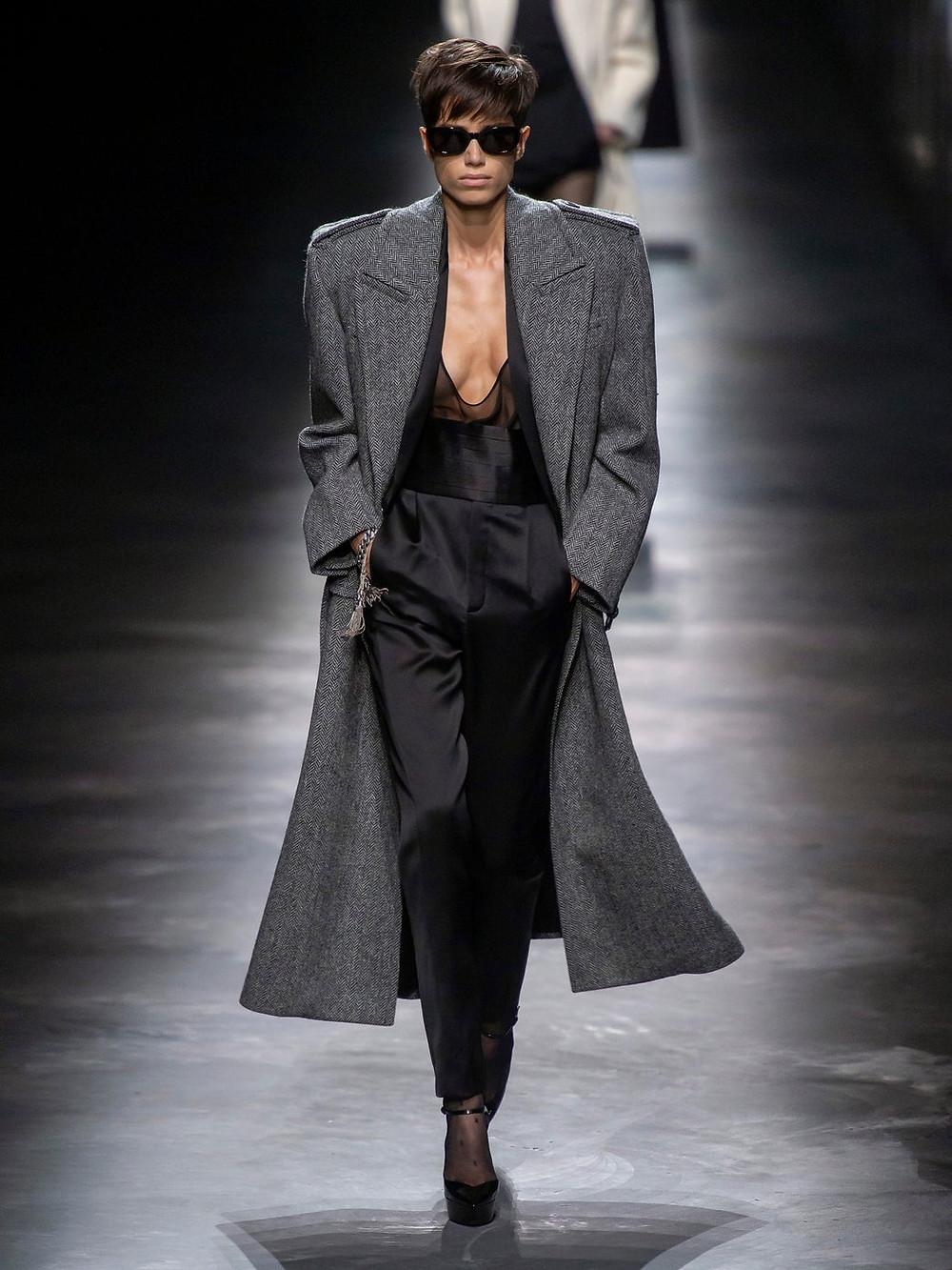 Saint Laurent Exaggerated-shoulder herringbone coat $3,740
