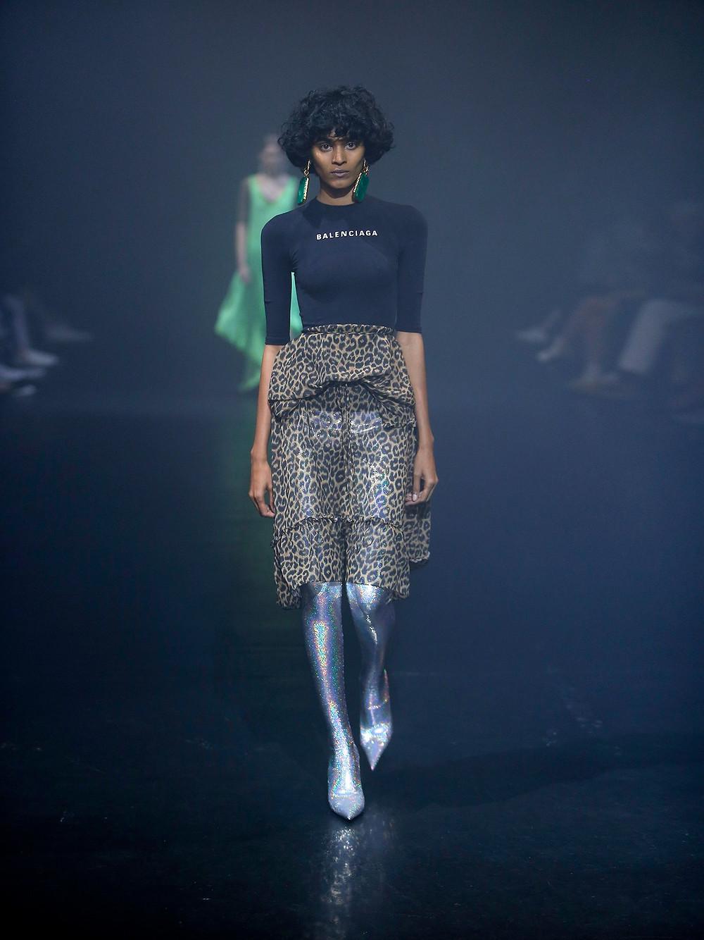 Balenciaga Stretch-jersey and leopard-print crepe dress $1,950