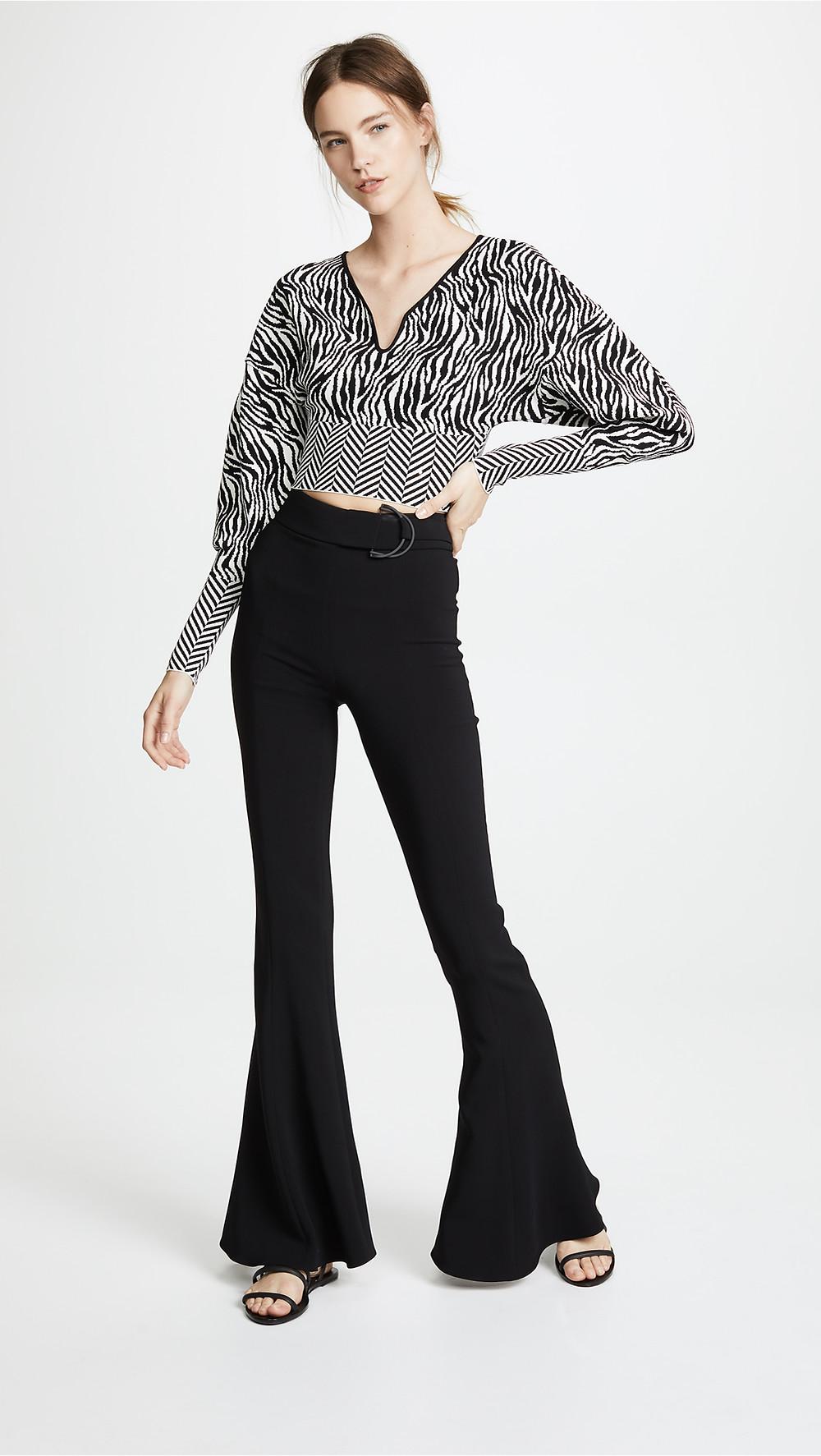 Esteban Cortazar Zebra Print Cropped V Neck Sweater $985