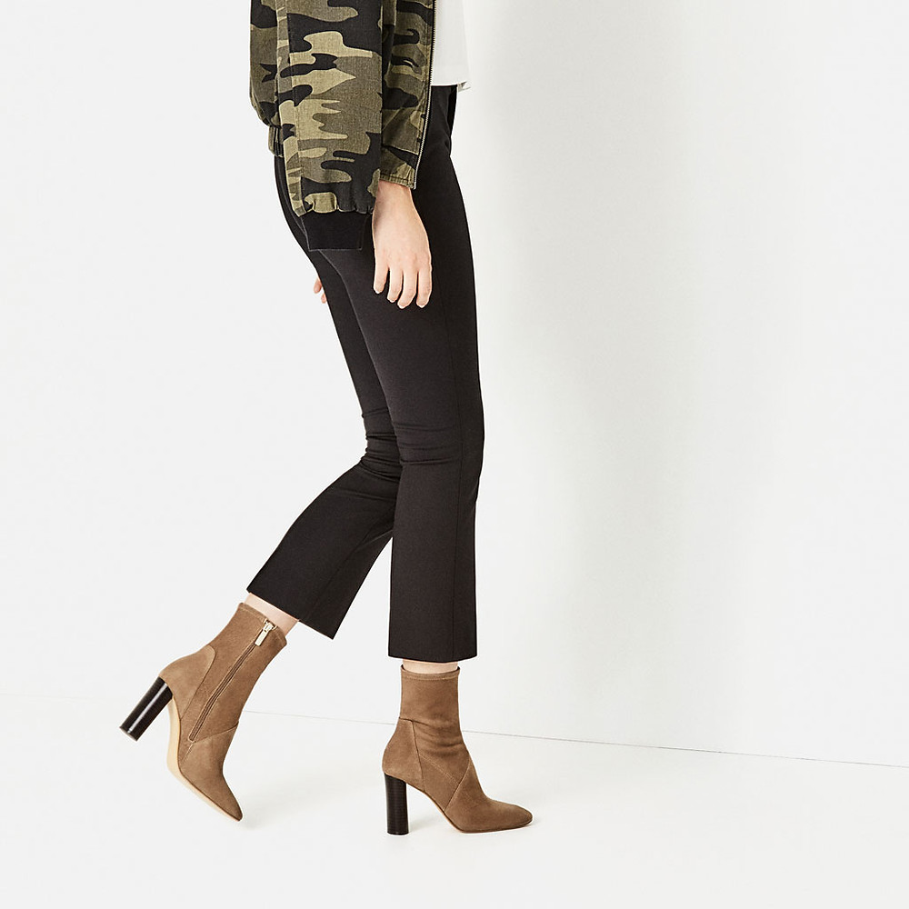 Zara High Heel Stretch Leather Ankle Boots $139