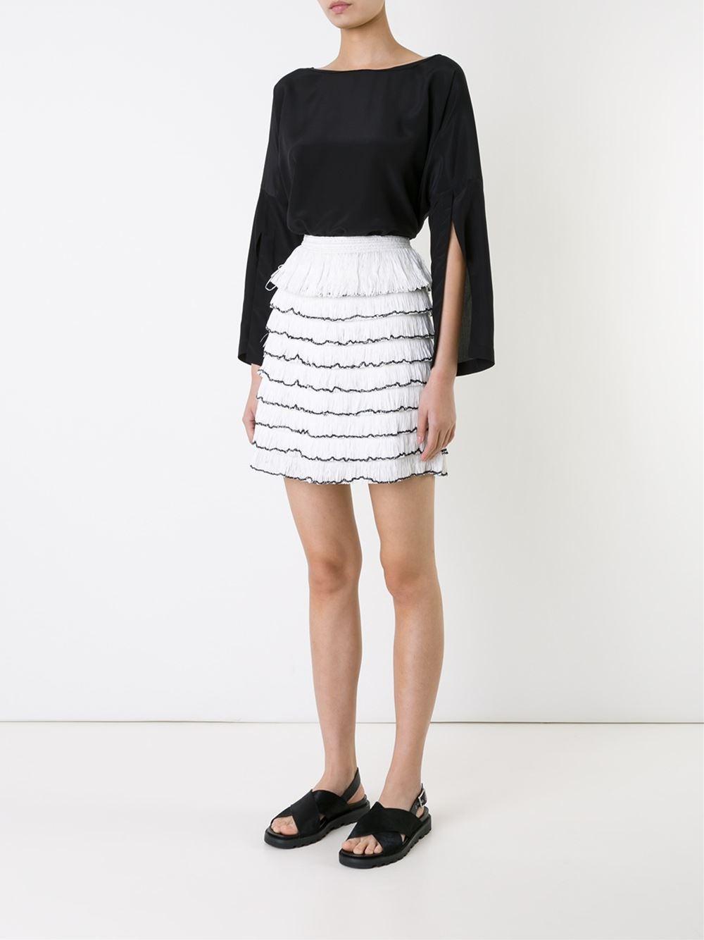KITZ White and black raffia fringed mini-skirt $388.31