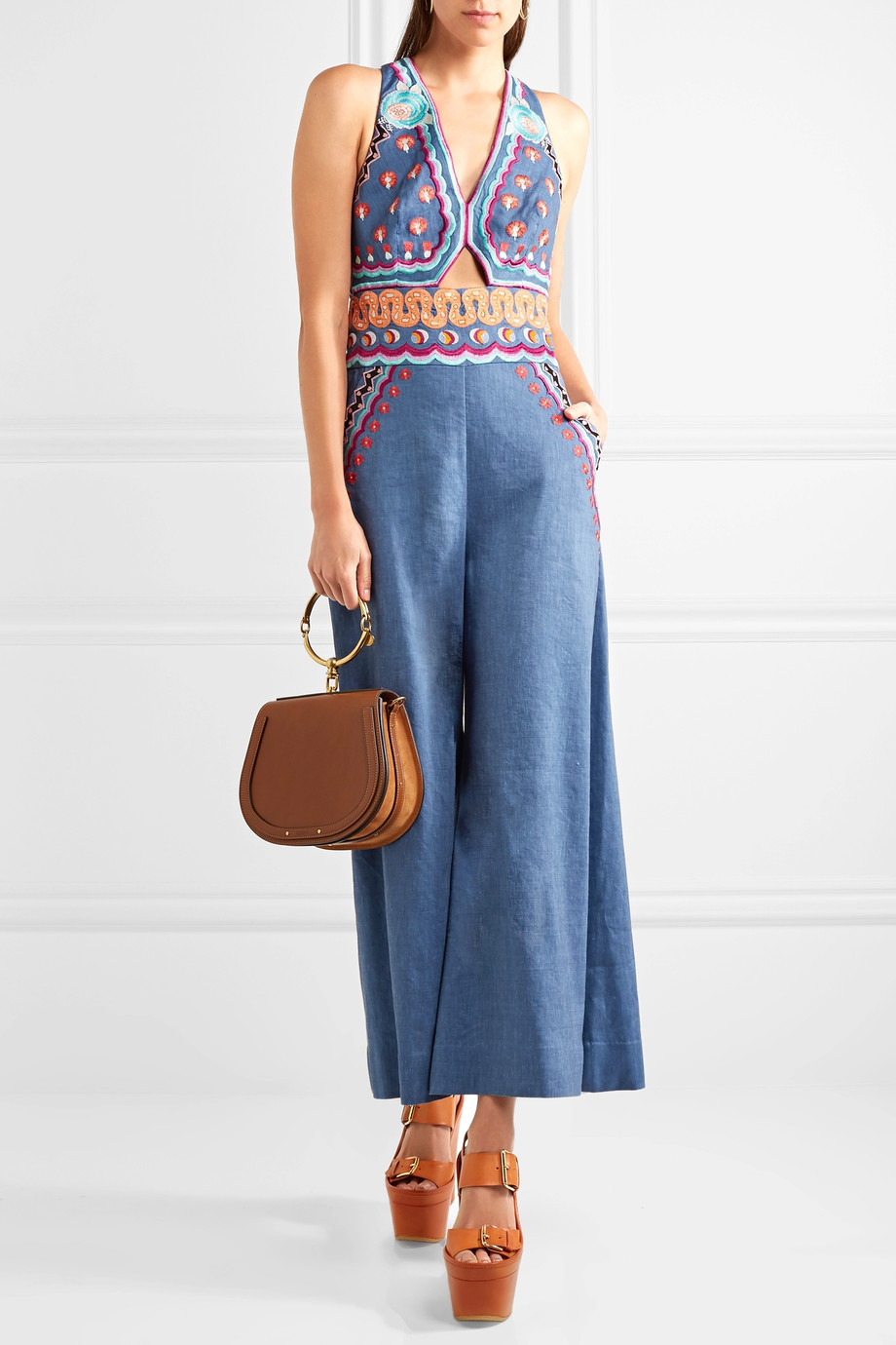 Temperley London Spellbound embroidered linen-blend chambray jumpsuit $1,295