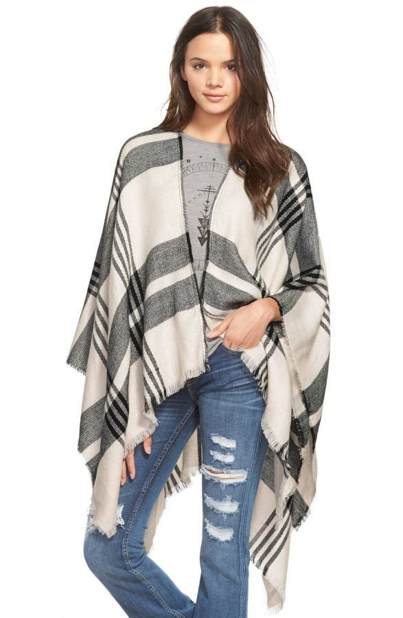 BP. Plaid Poncho $39