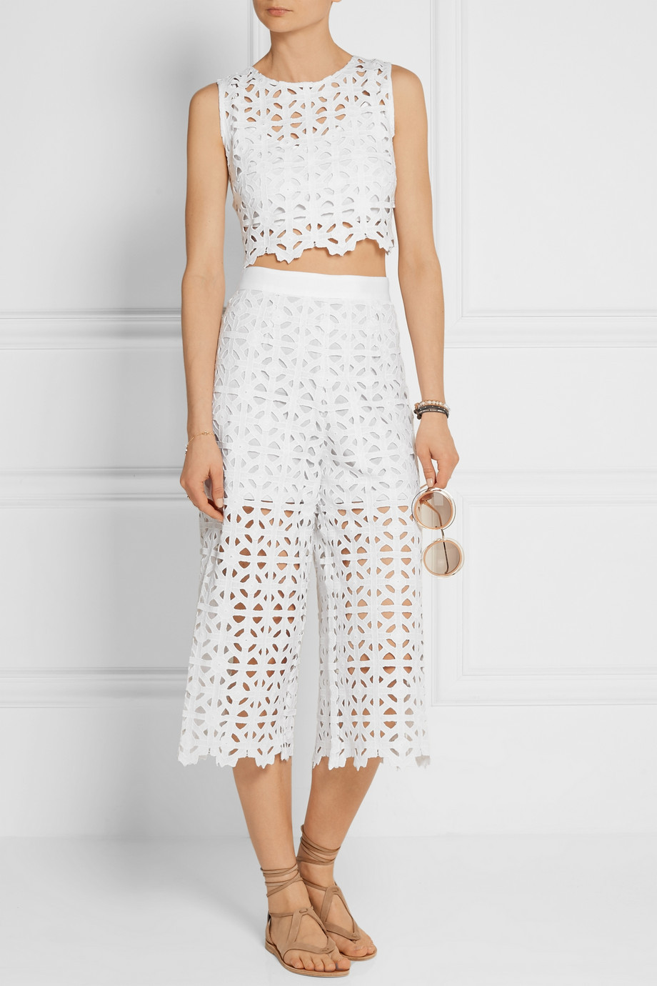 Miguelina Ruby cropped crocheted macramé cotton top $260