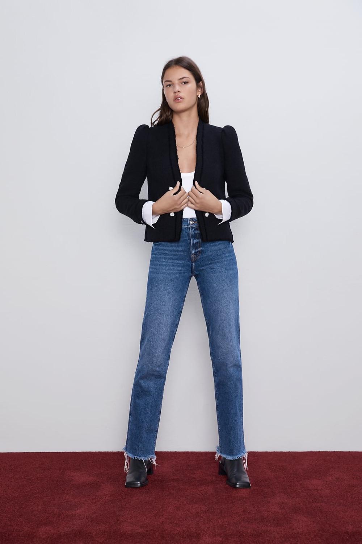 Zara Tweed Poplin Jacket with pronounced shoulder pads $129