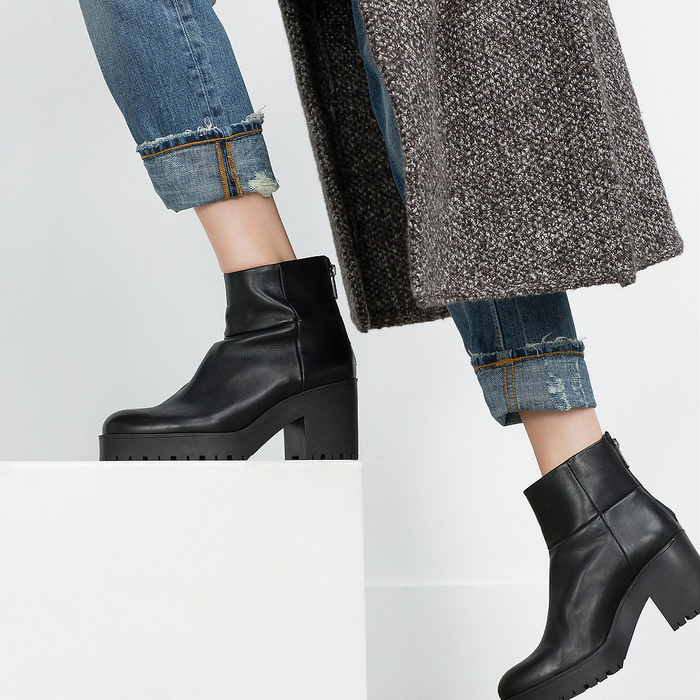 Zara high heel leather ankle boots with track sole-$119