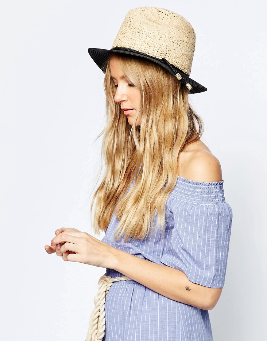 ASOS Straw Trilby Hat With 2 Textured Natural Straw In Color Block $23.00