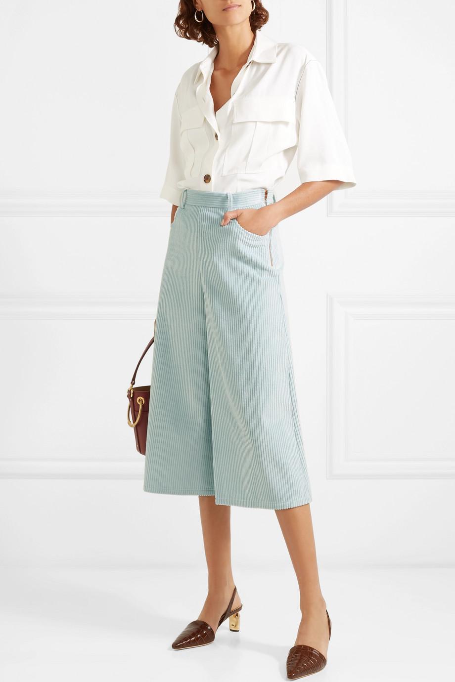 See by Chloe Cropped cotton-blend corduroy wide-leg pants $375