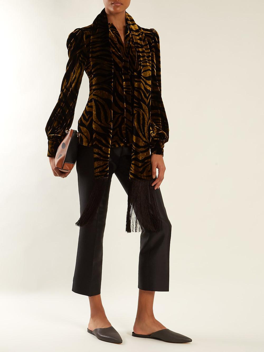 Hillier Bartley Zebra-print fringe-trimmed velvet blouse $292