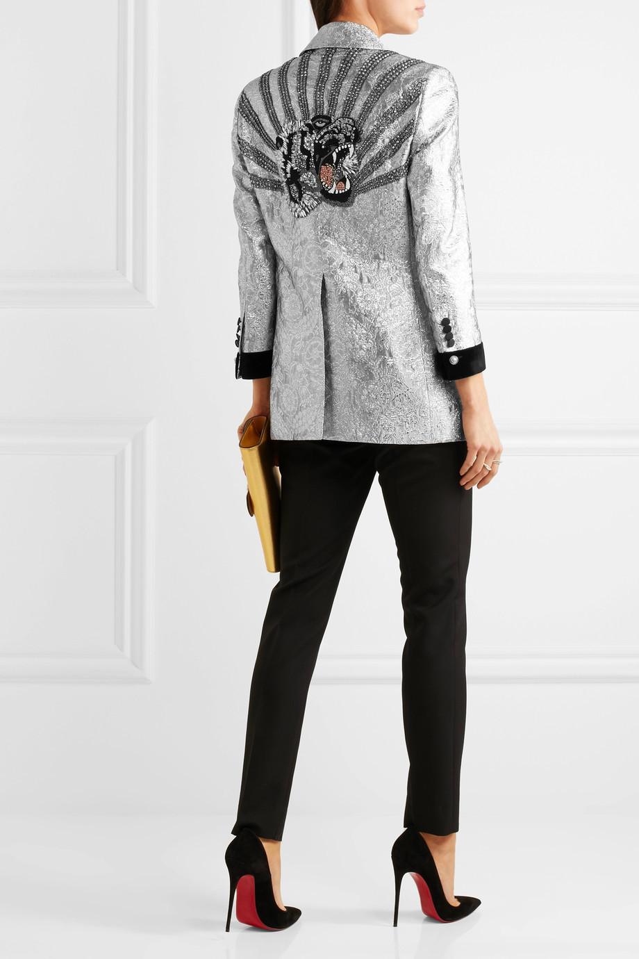 Gucci Velvet-trimmed embellished metallic brocade blazer $7,300