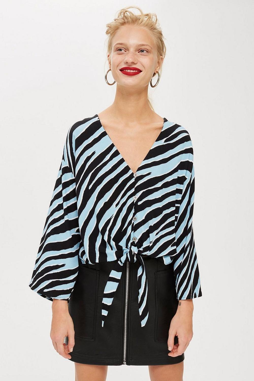 Topshop Zebra Print Tie Front Blouse $55