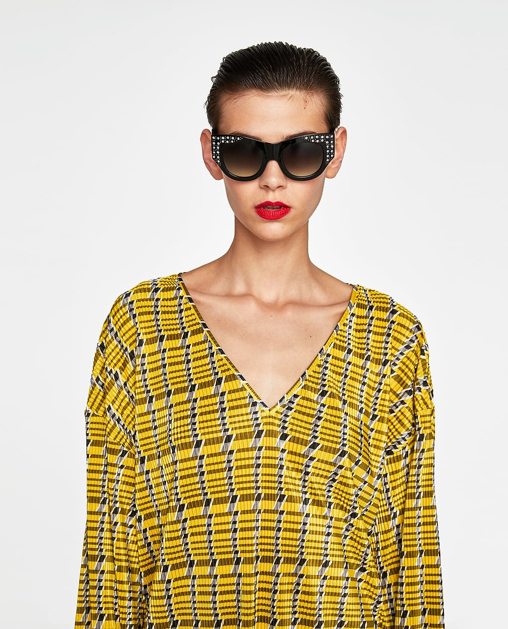 Zara Plastic Frame Sunglasses with Encrusted Detailing $29.90