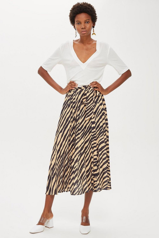 Topshop Petite Zebra Pleat Midi Skirt $75