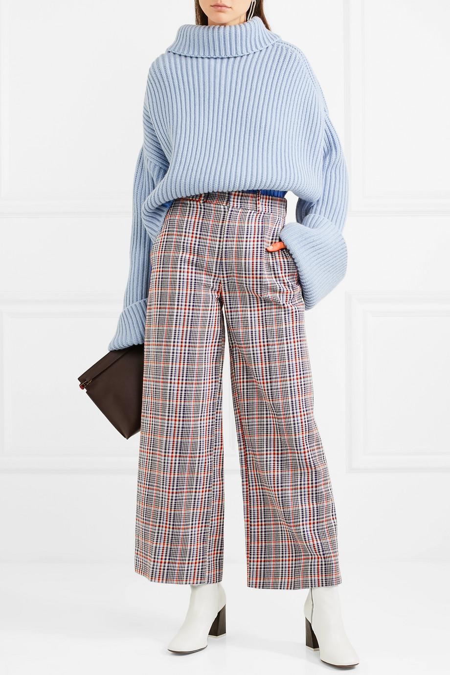 Joseph Ferrandi checked cotton-tweed wide-leg pants $222.50
