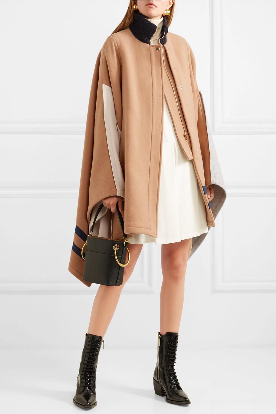 Chloe Color-block wool-blend cape $2,595