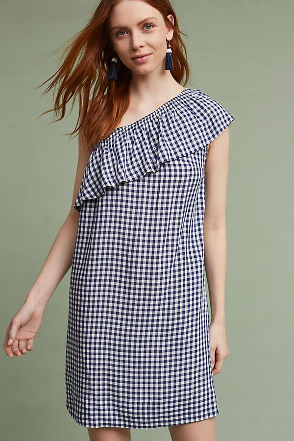 Emmeline One-Shoulder Gingham Tunic Dress $178