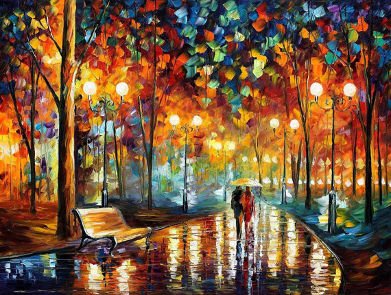 Painting Rain's Rustle 2 — oil painting, Leonid Afremov, wall art, wall decor, home decor, canvas art, artwork, fine art painting on canvas $139 at Etsy-Check out more artwork at Etsy