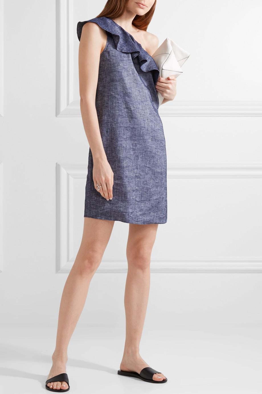 Theory Alexandra one-shoulder ruffled linen-blend mini dress $295