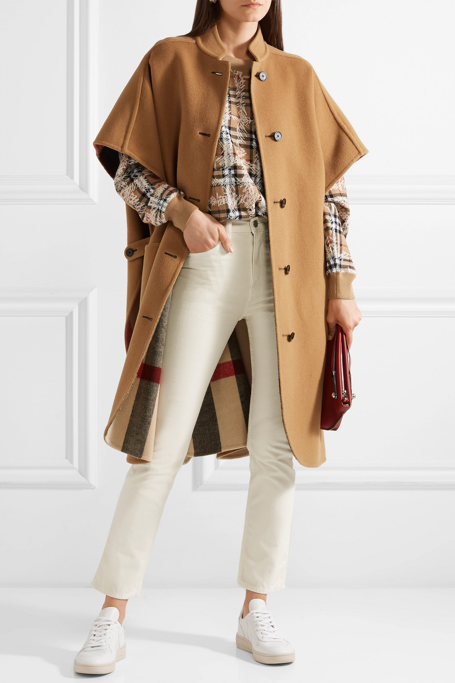 Burberry Reversible checked wool-blend cape $1,990