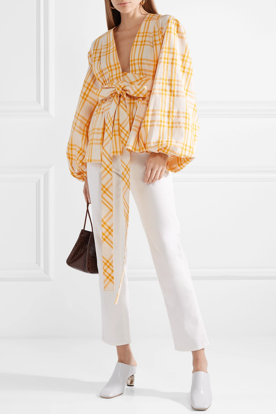 Rosie Assoulin Checked cotton-voile wrap top $448.50