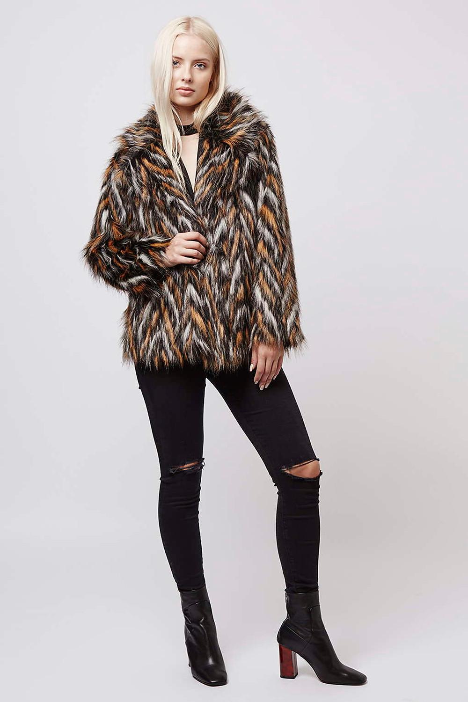 Topshop-Chevron Patterned Faux Fur Coat-$170