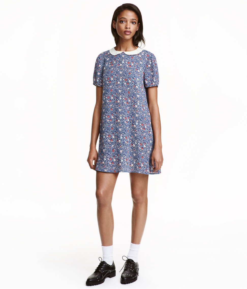 H&M Patterned Dress with Peter Pan Collar $24.99