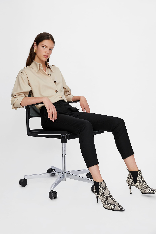 Zara Snakeskin Print Heeled Leather Ankle Boots $149