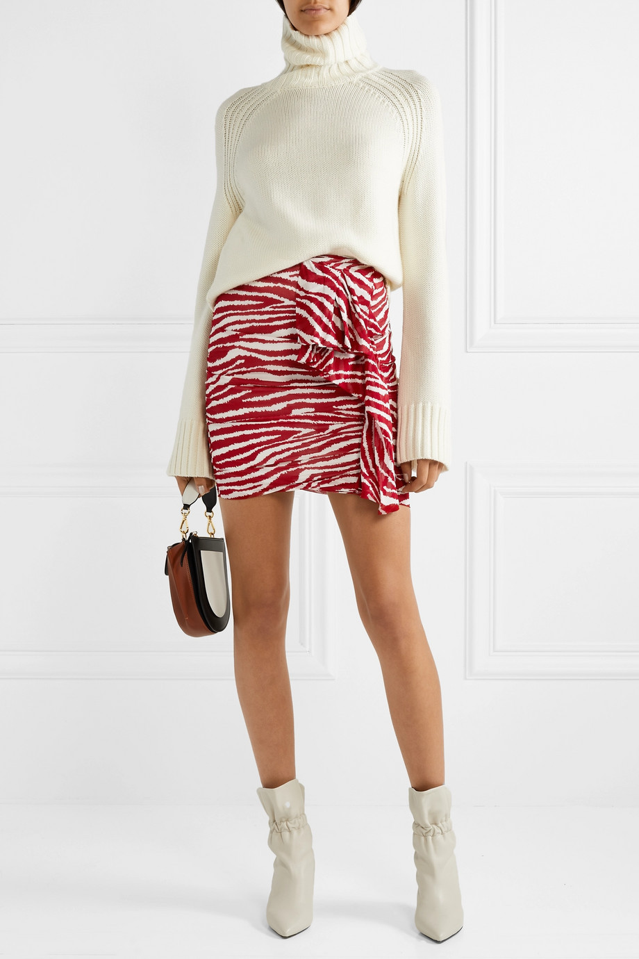 Isabel Marant Jerine ruffled zebra-print chiffon mini skirt $345