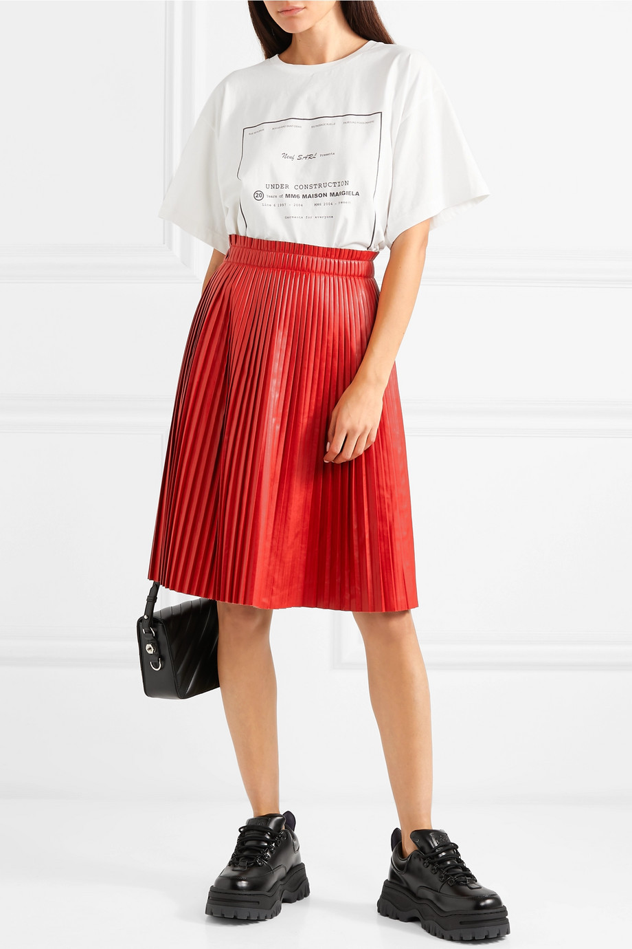 We11done Pleated faux leather skirt $420