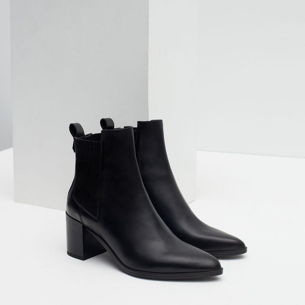 Zara block heel leather ankle boots-$139