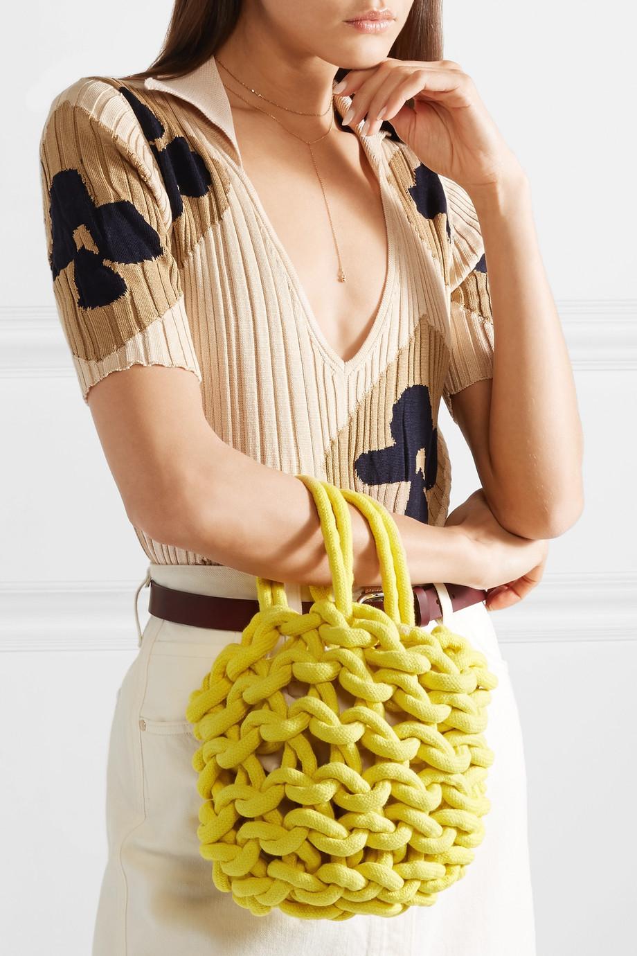 Alienina Woven cotton bucket bag $200