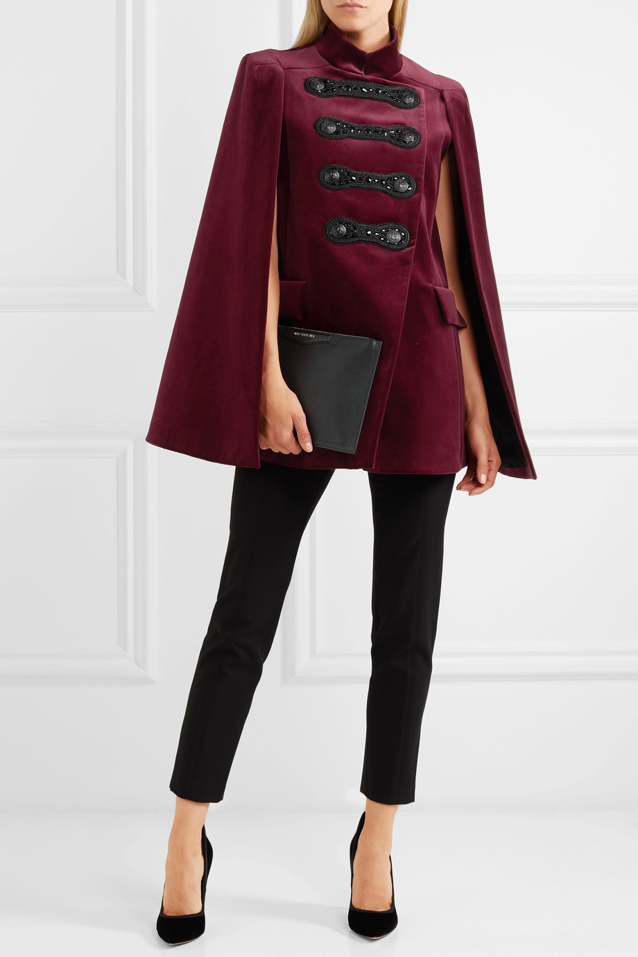 Pierre Balmain Embellished cotton-blend velvet cape $1,750