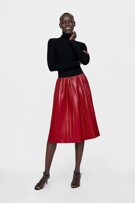 Zara Waxed Finish Pleated Skirt $49.90