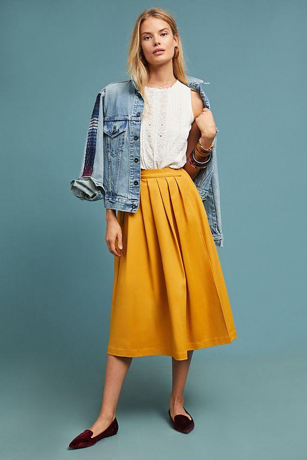 Golden A-Line Skirt $118