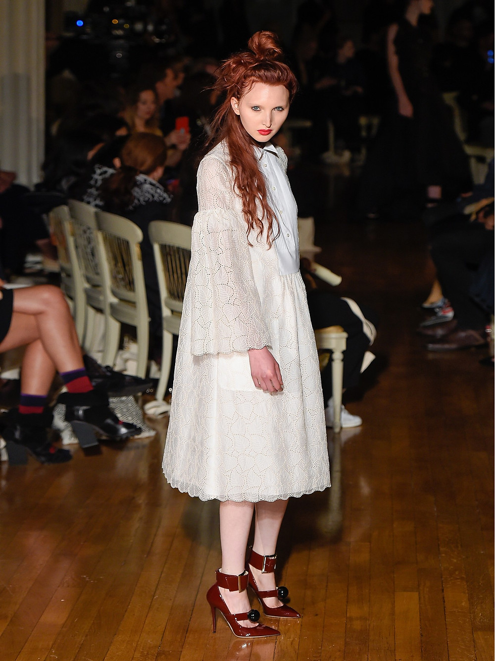 Giles Bell-sleeved macramé-lace dress now $560