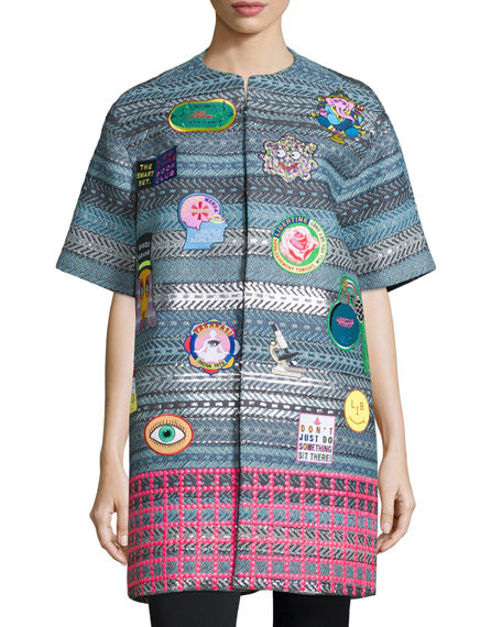 Libertine Raffia Mixed-Print Jacket with Patches, Multi Colors $4,250