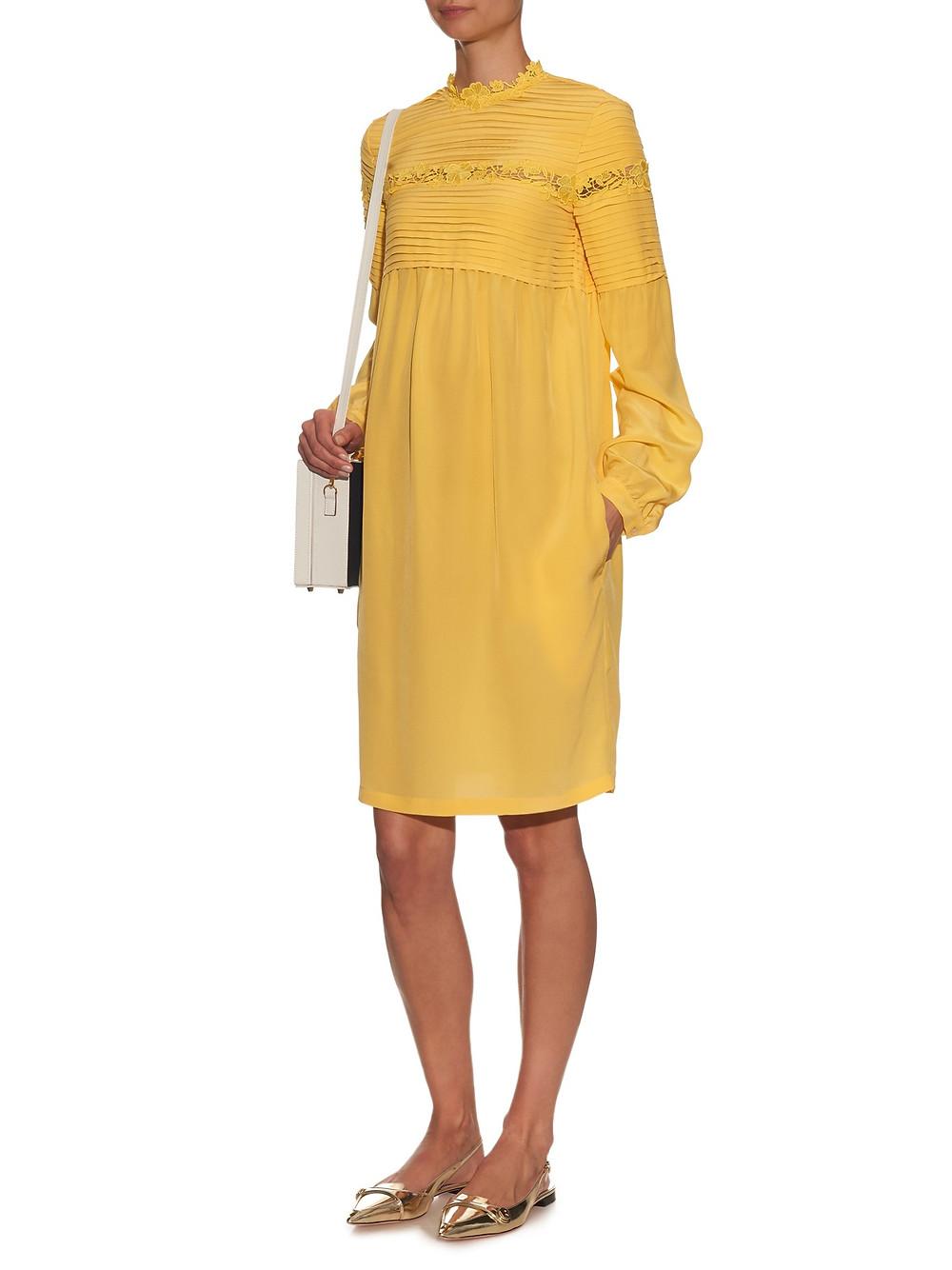 Rochas Long-sleeved macramé-lace trim silk-crepe dress now $1,006