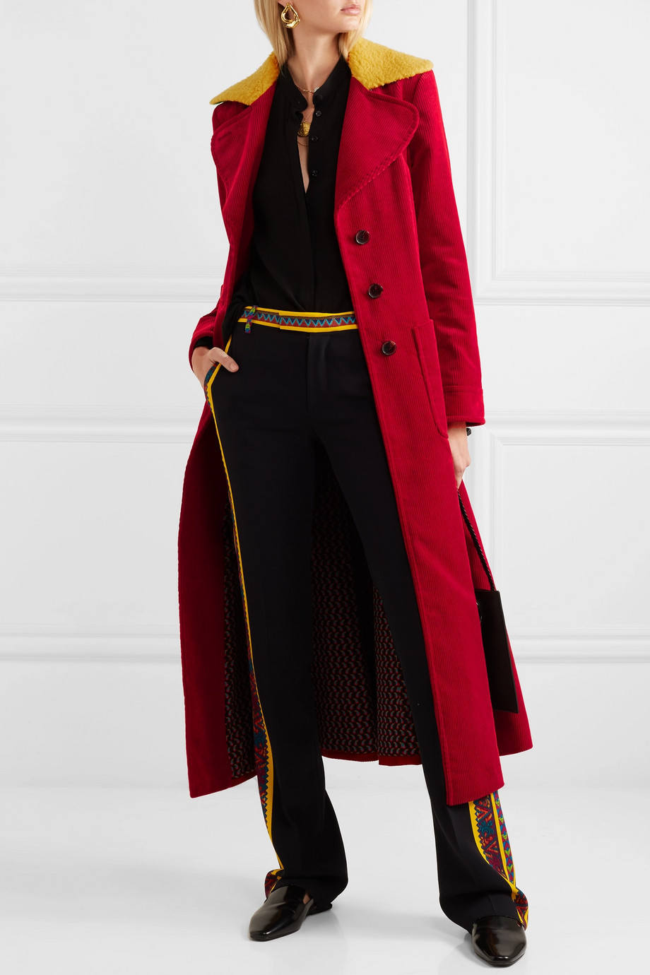 Etro Faux shearling-trimmed cotton-corduroy coat $2,400
