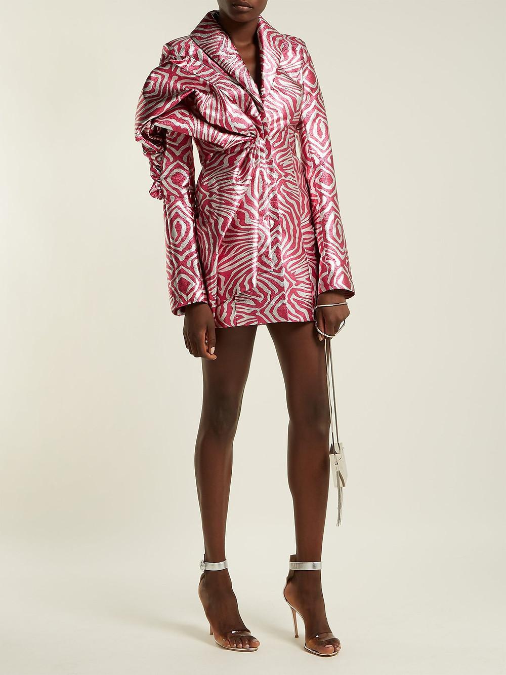 Halpern Zebra-print lamé mini dress $6,140