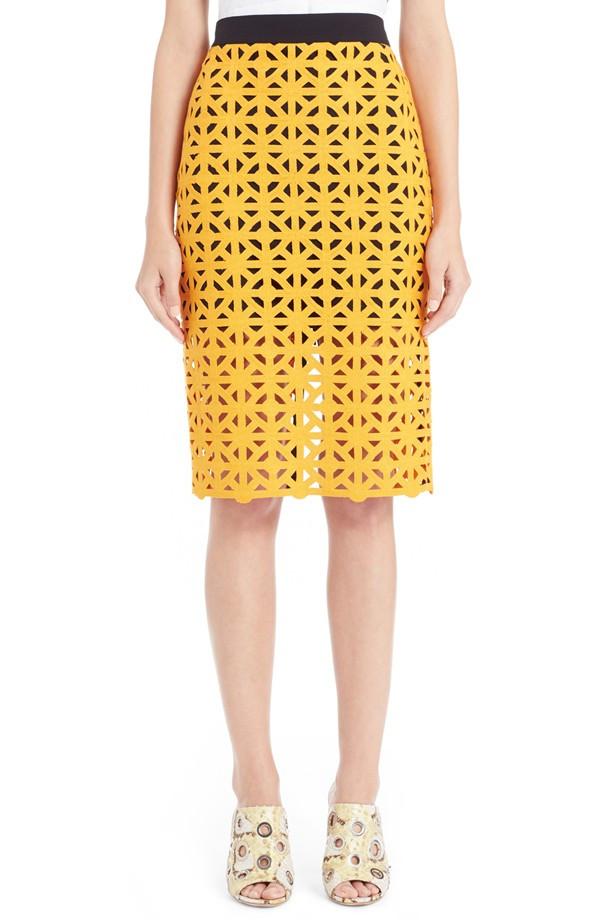 MSGM Geometric Laser Cut Pencil Skirt $415