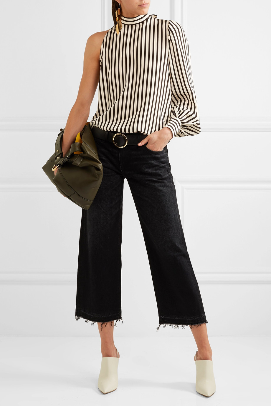 MSGM One-shoulder striped silk crepe de chine top $605