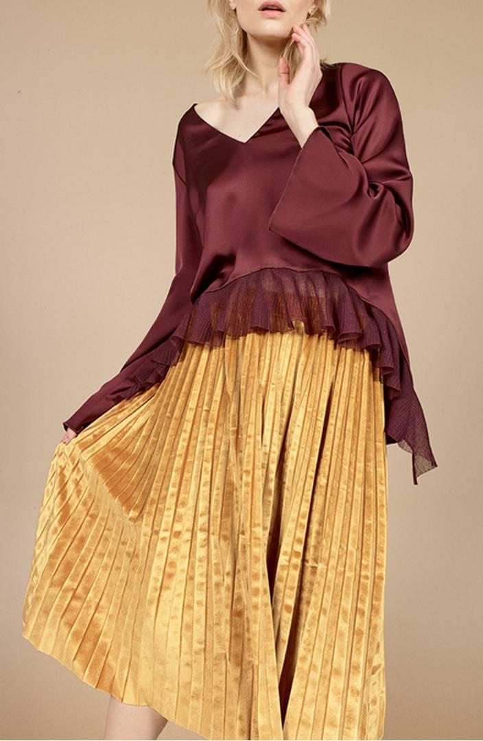 Chelsea28 Pleated Velvet Skirt $52.90
