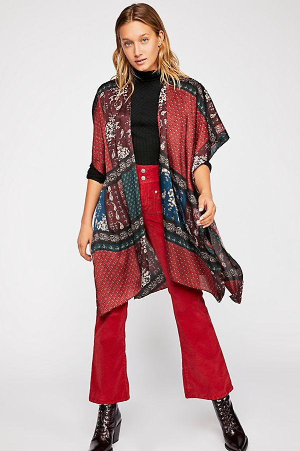 Mon Cheri Silky Patchwork Kimono $68
