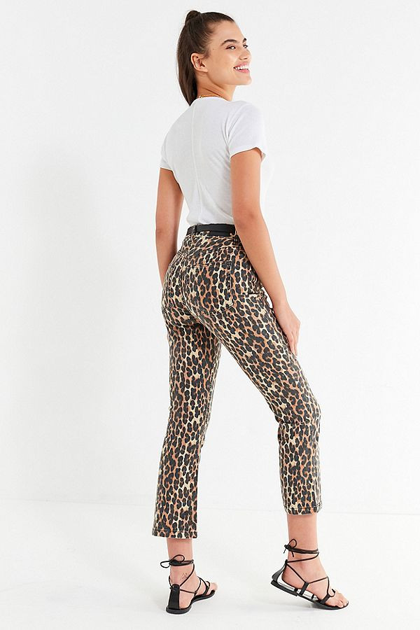 BDG Kick Flare High-Rise Cropped Jean – Leopard $64