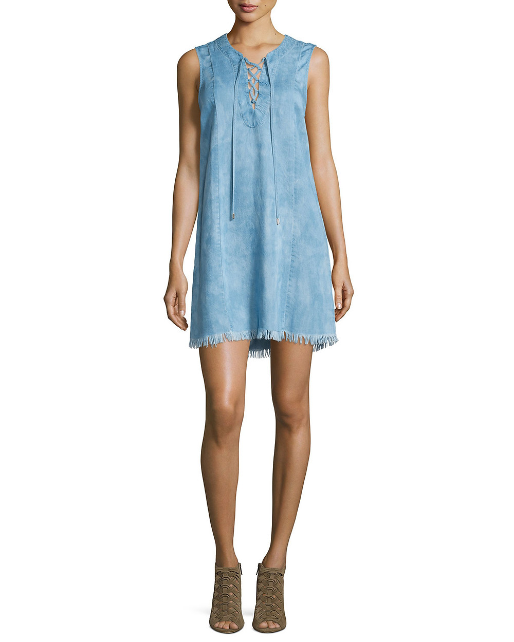 7 For All Mankind sleeveless lace-up denim dress $198