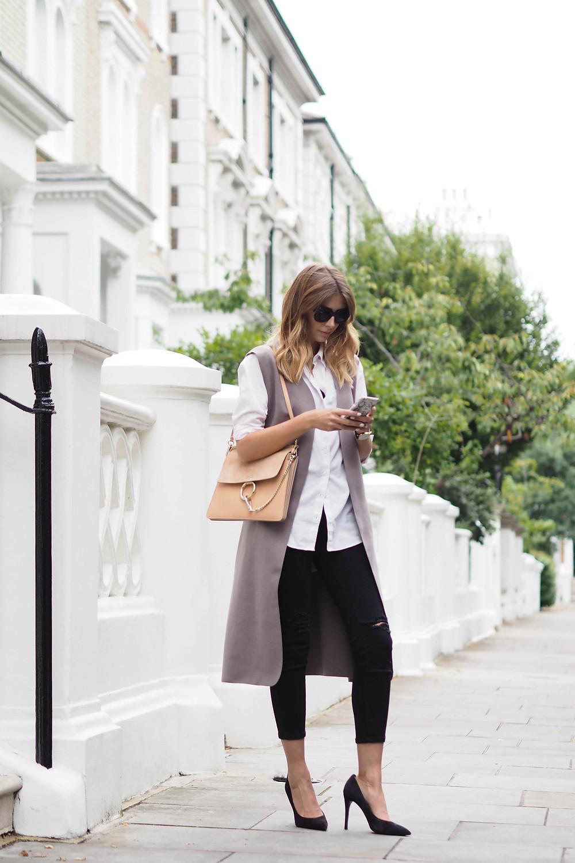 jacket is from Boohoo; ASOS shirt;dungarees worn as jeans; Zara shoes; Chloe bag